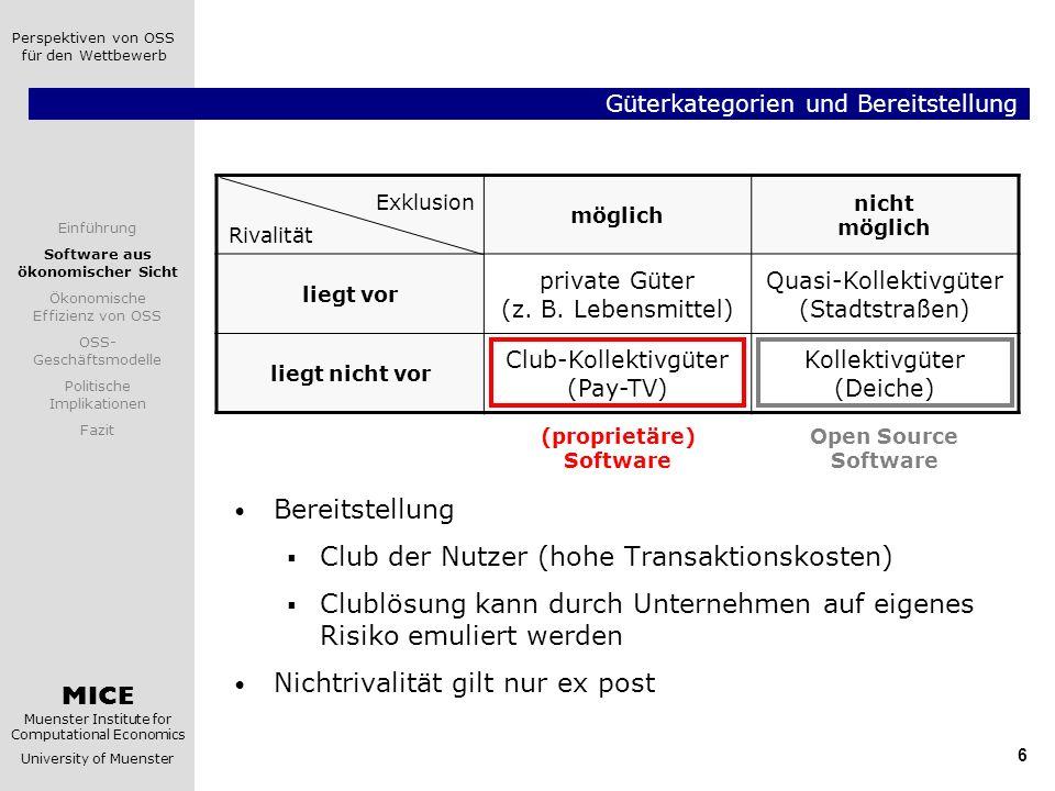 Güterkategorien und Bereitstellung