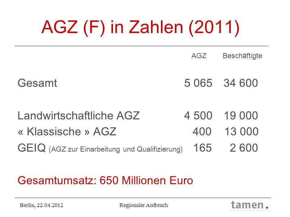 AGZ (F) in Zahlen (2011) Gesamt 5 065 34 600