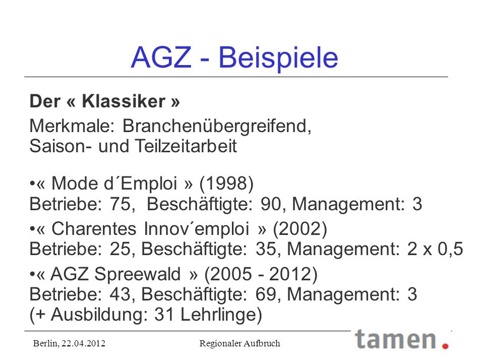 AGZ - Beispiele Der « Klassiker »