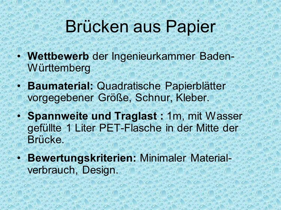 Brücken aus Papier Wettbewerb der Ingenieurkammer Baden-Württemberg