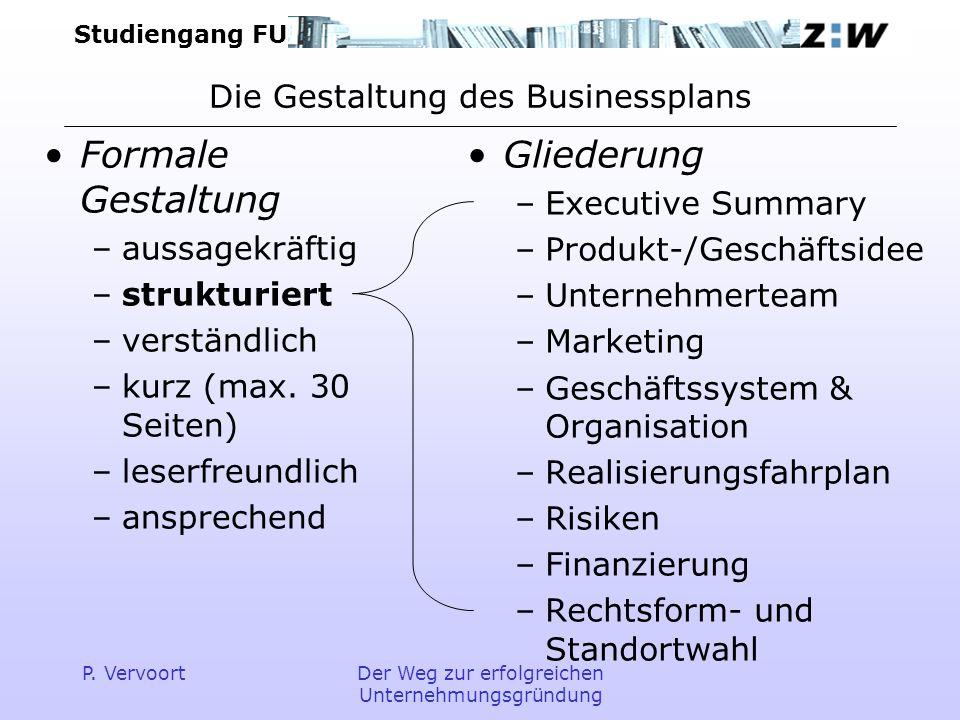 Die Gestaltung des Businessplans
