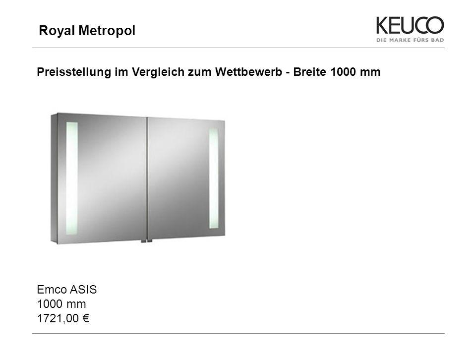 Royal Metropol Preisstellung im Vergleich zum Wettbewerb - Breite 1000 mm. Emco ASIS 1000 mm 1721,00 €