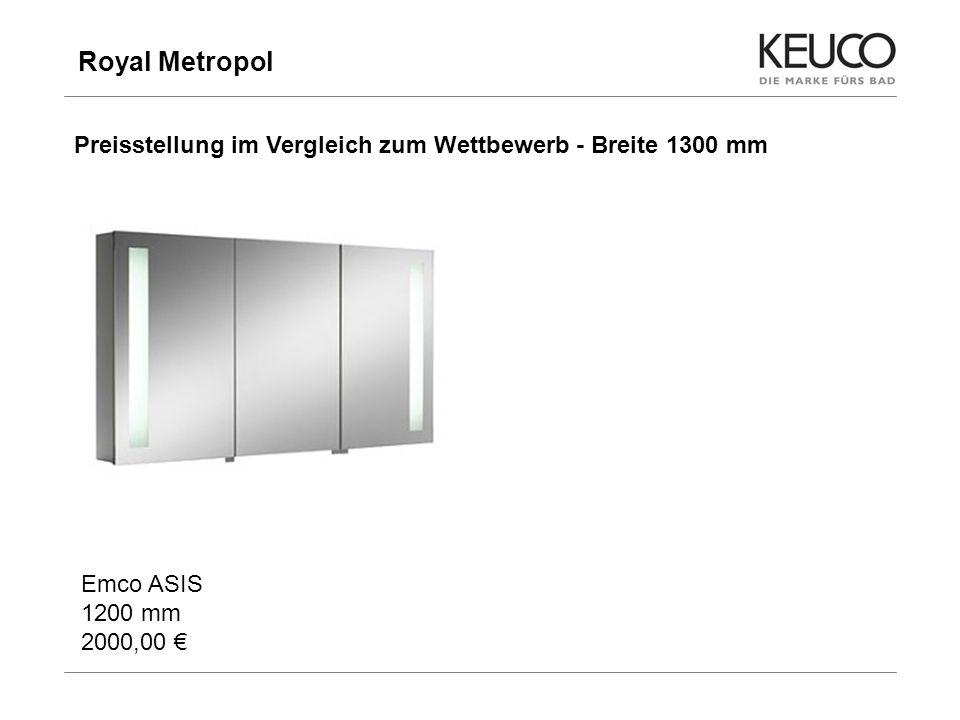Royal Metropol Preisstellung im Vergleich zum Wettbewerb - Breite 1300 mm. Emco ASIS 1200 mm 2000,00 €