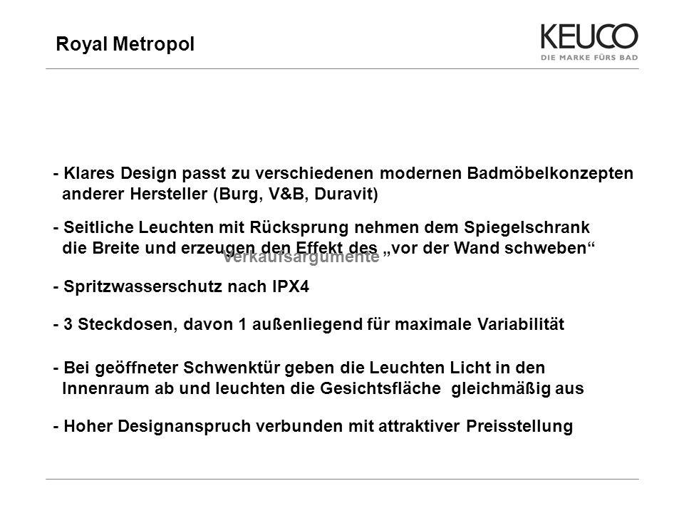 Royal Metropol - Klares Design passt zu verschiedenen modernen Badmöbelkonzepten anderer Hersteller (Burg, V&B, Duravit)