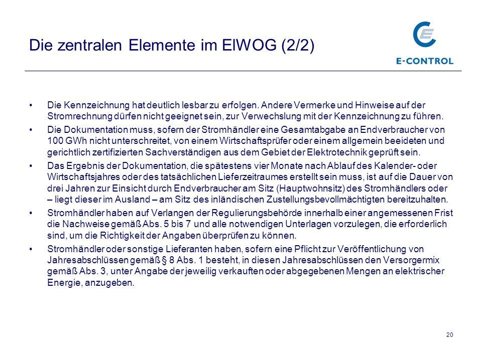 Die zentralen Elemente im ElWOG (2/2)