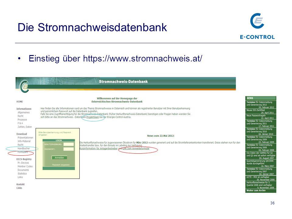 Die Stromnachweisdatenbank