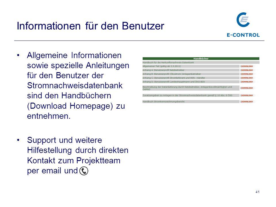 Informationen für den Benutzer