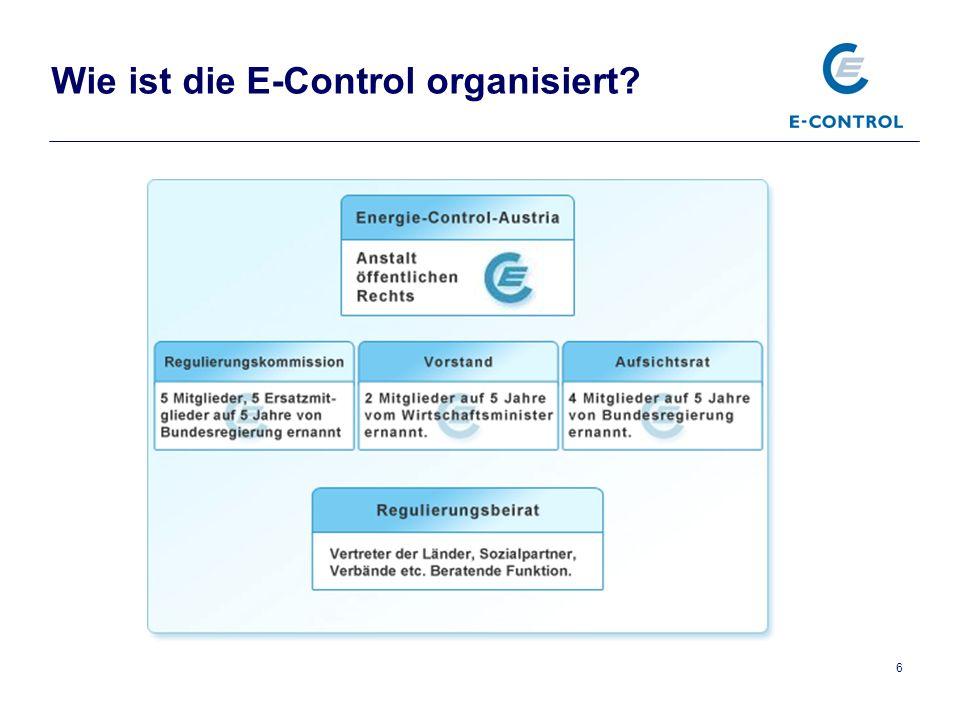 Wie ist die E-Control organisiert