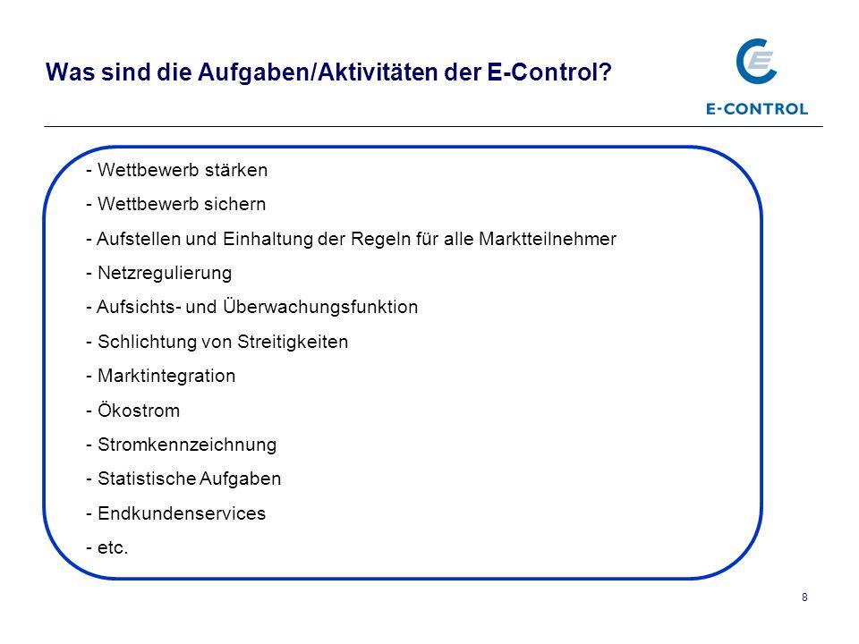 Was sind die Aufgaben/Aktivitäten der E-Control