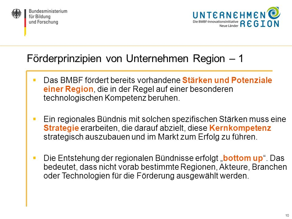 Förderprinzipien von Unternehmen Region – 1