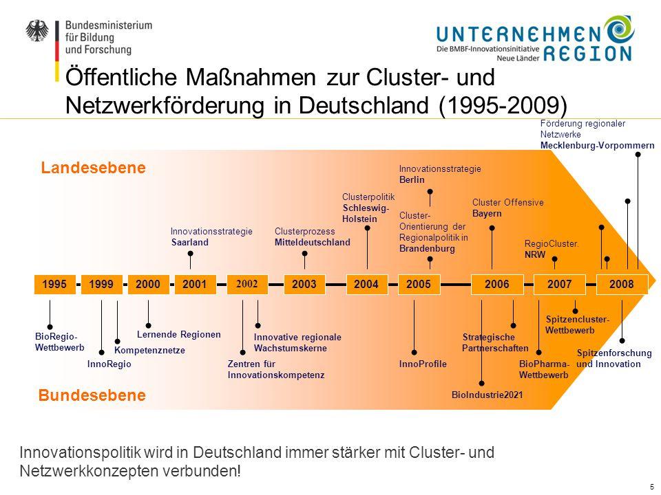 Öffentliche Maßnahmen zur Cluster- und Netzwerkförderung in Deutschland (1995-2009)