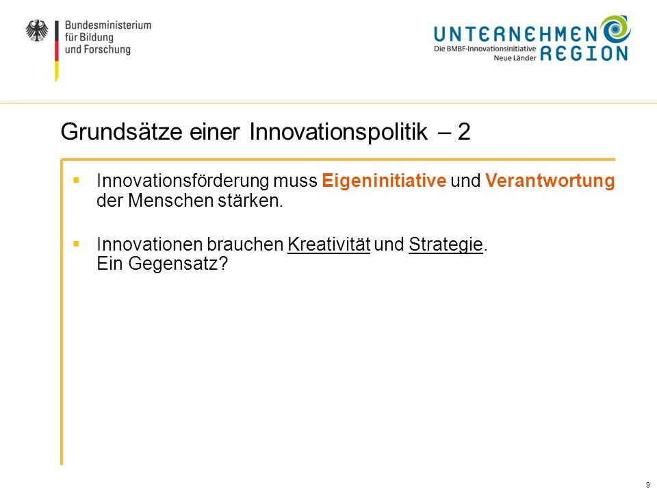 Grundsätze einer Innovationspolitik – 2
