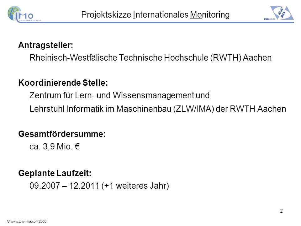 Projektskizze Internationales Monitoring