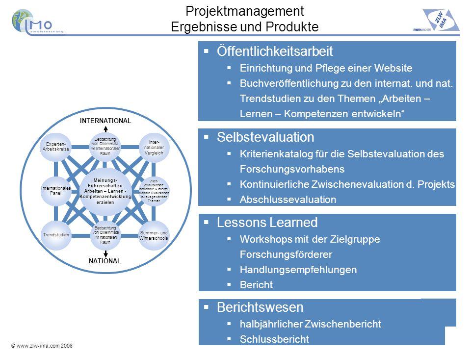 Projektmanagement Ergebnisse und Produkte