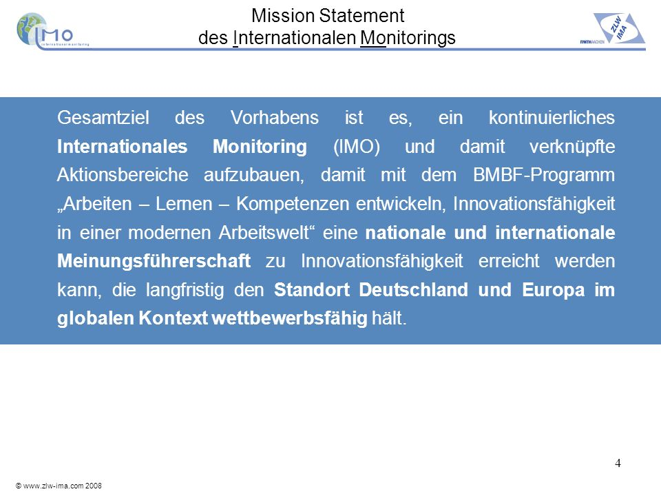 Mission Statement des Internationalen Monitorings