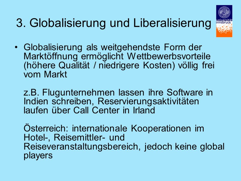 3. Globalisierung und Liberalisierung