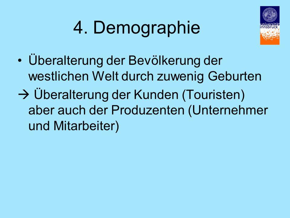 4. Demographie Überalterung der Bevölkerung der westlichen Welt durch zuwenig Geburten.