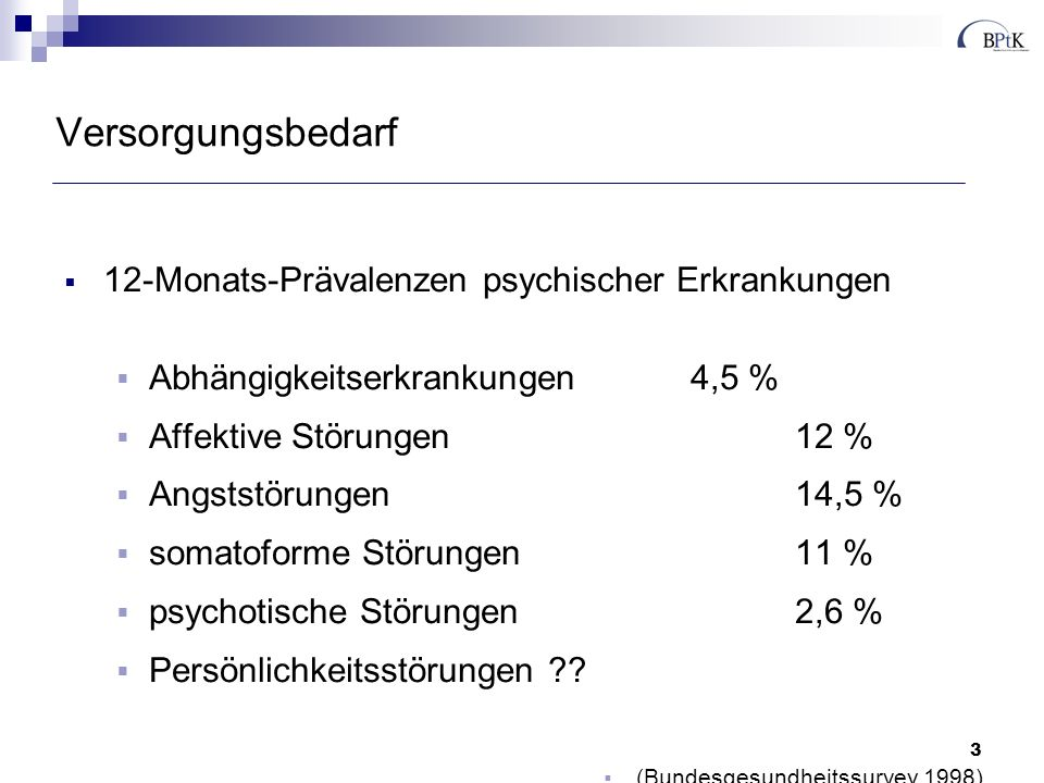 Versorgungsbedarf 12-Monats-Prävalenzen psychischer Erkrankungen