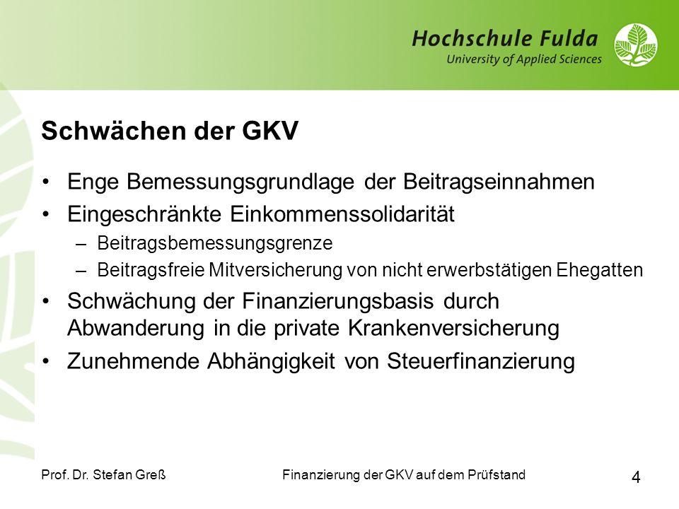 Schwächen der GKV Enge Bemessungsgrundlage der Beitragseinnahmen