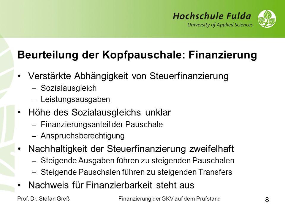 Beurteilung der Kopfpauschale: Finanzierung