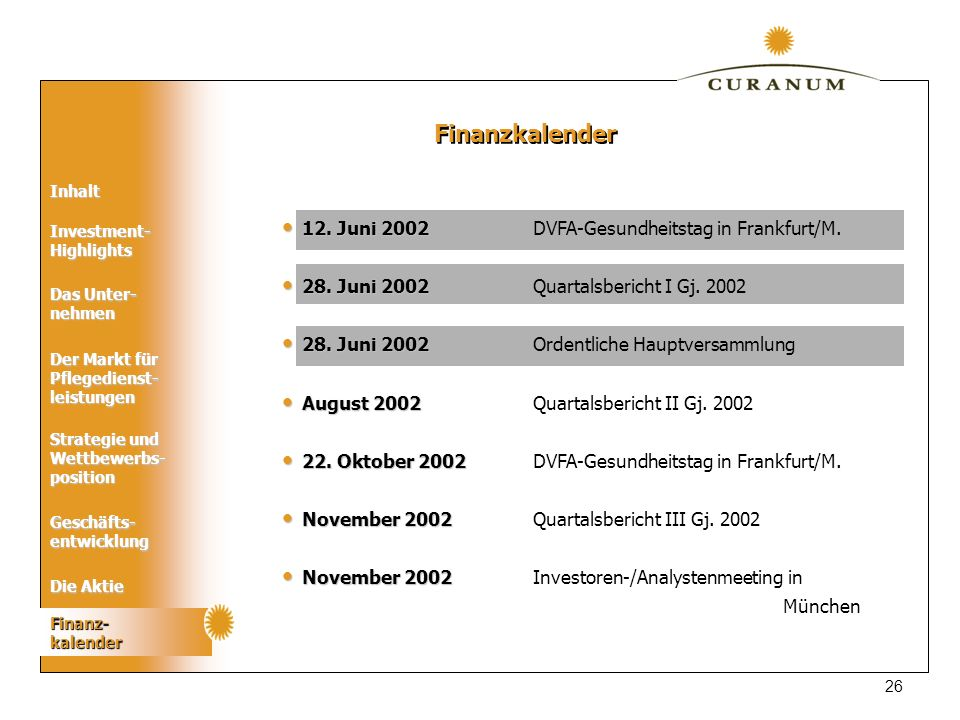 Finanzkalender 12. Juni 2002 DVFA-Gesundheitstag in Frankfurt/M.