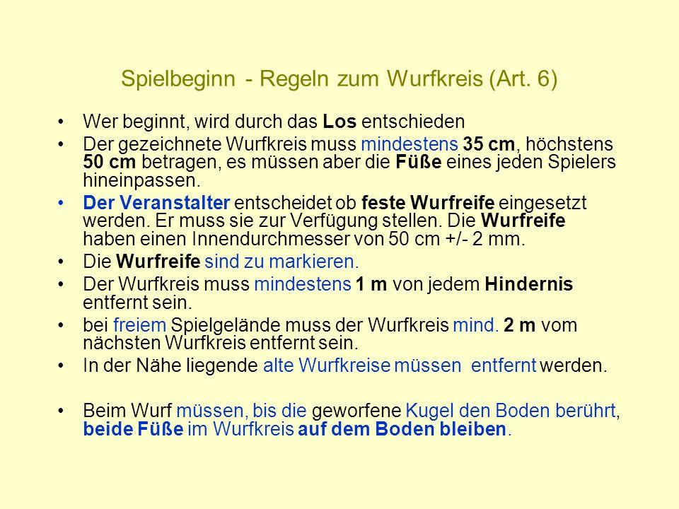 Spielbeginn - Regeln zum Wurfkreis (Art. 6)