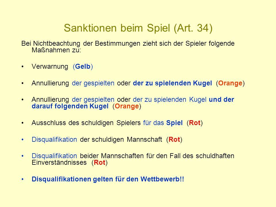 Sanktionen beim Spiel (Art. 34)
