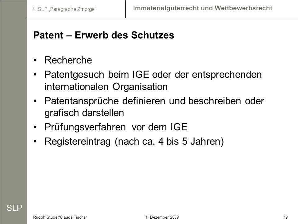 Patent – Erwerb des Schutzes