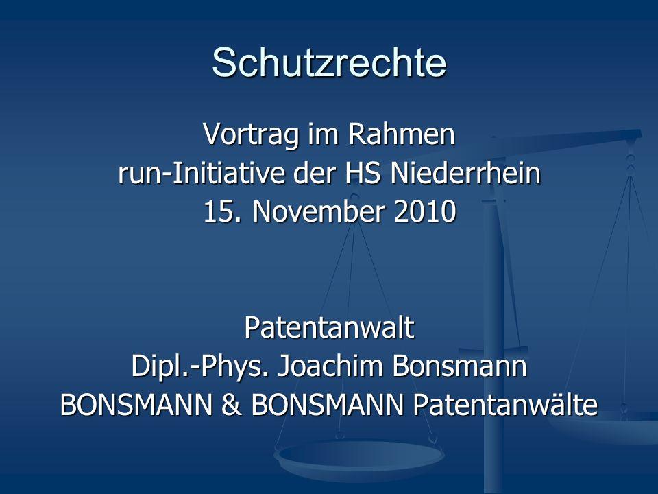 Schutzrechte Vortrag im Rahmen run-Initiative der HS Niederrhein