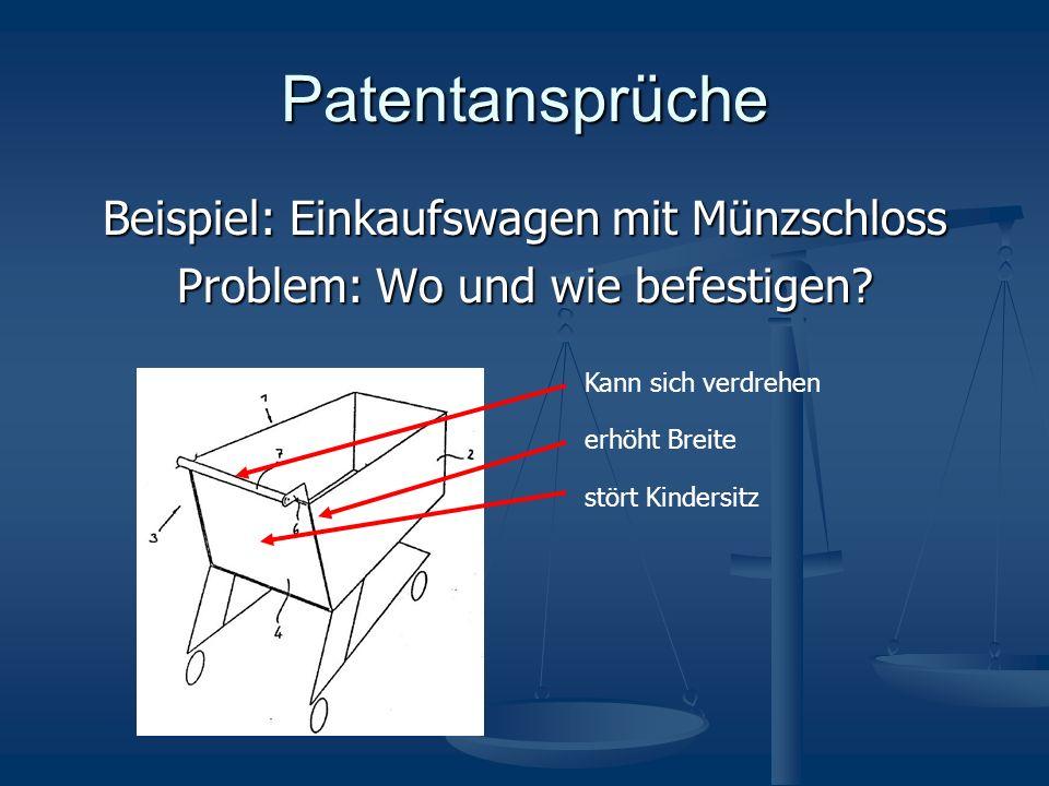 Patentansprüche Beispiel: Einkaufswagen mit Münzschloss