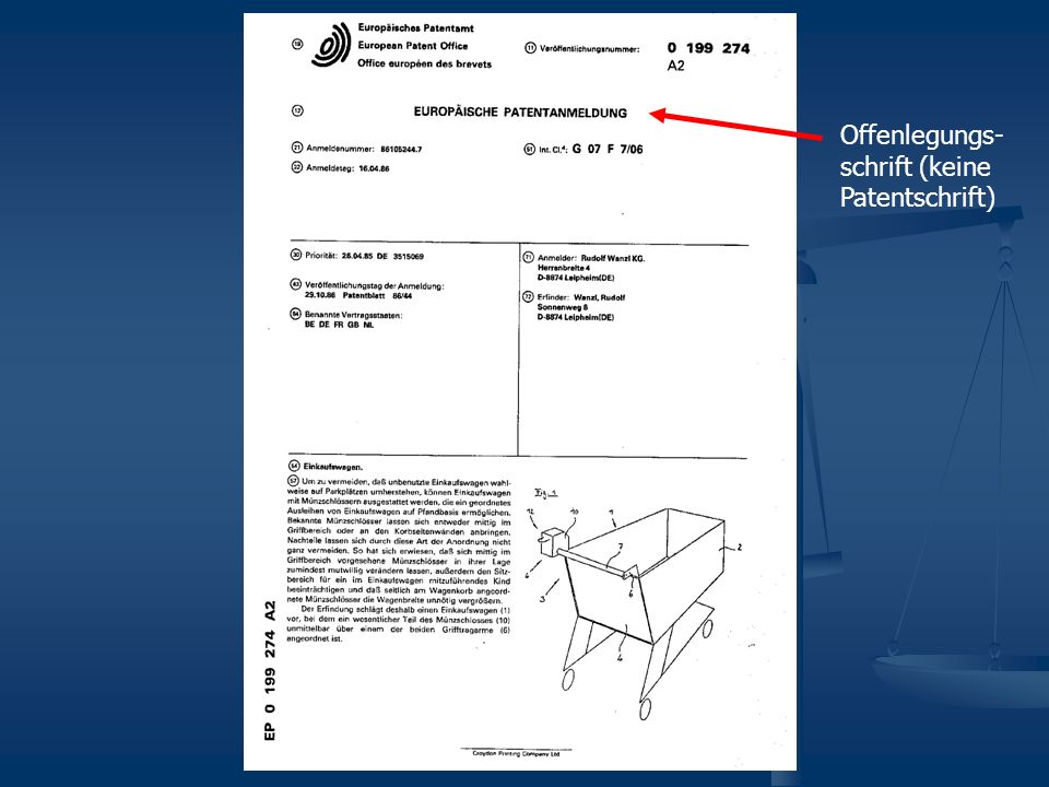 Offenlegungs-schrift (keine Patentschrift)