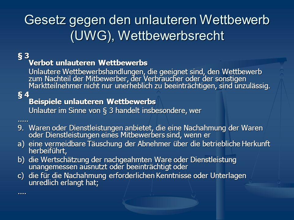 Gesetz gegen den unlauteren Wettbewerb (UWG), Wettbewerbsrecht