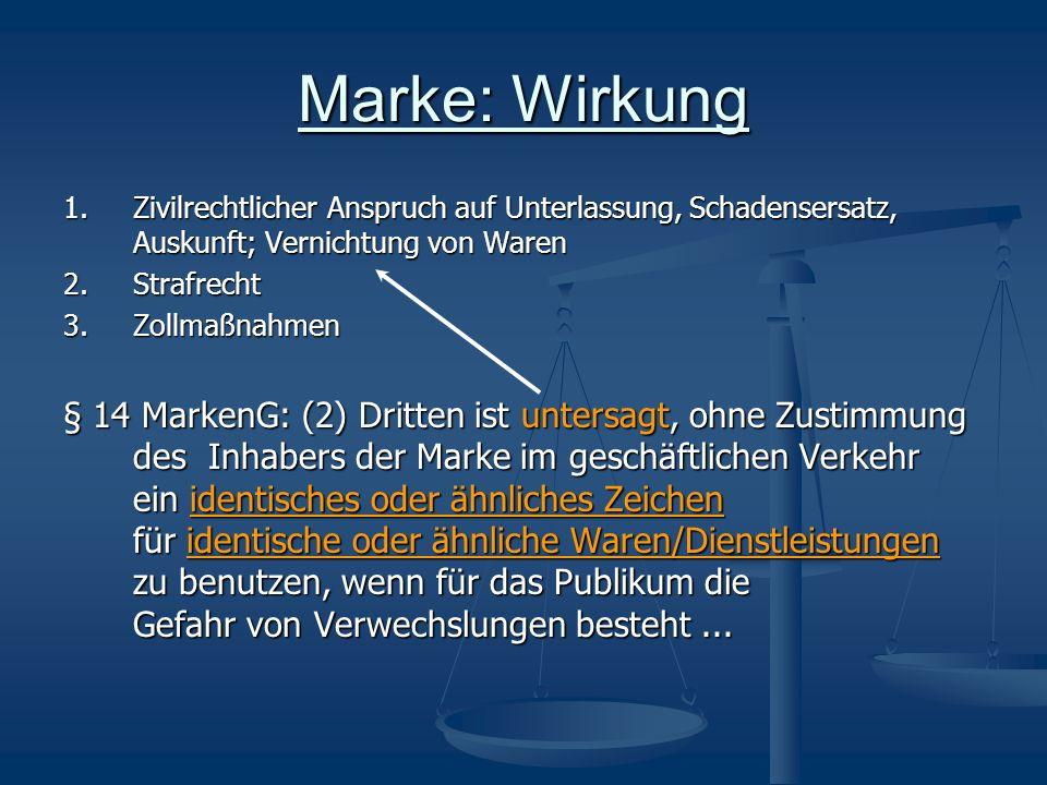 Marke: Wirkung 1. Zivilrechtlicher Anspruch auf Unterlassung, Schadensersatz, Auskunft; Vernichtung von Waren.