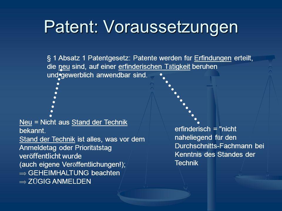 Patent: Voraussetzungen