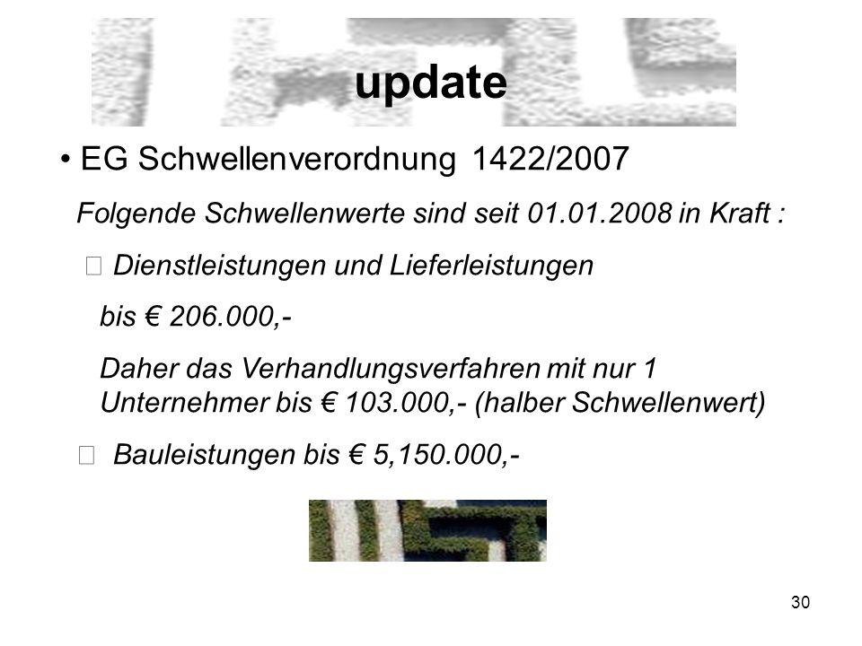 update EG Schwellenverordnung 1422/2007