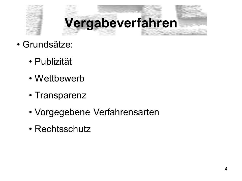 Vergabeverfahren Grundsätze: Publizität Wettbewerb Transparenz