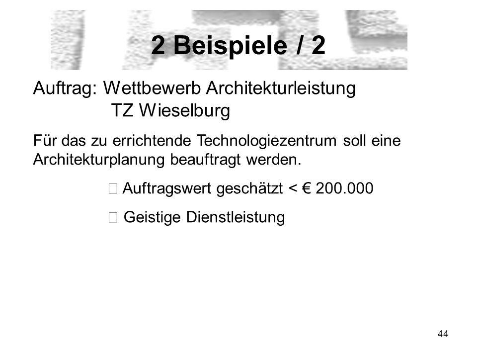 2 Beispiele / 2 Auftrag: Wettbewerb Architekturleistung TZ Wieselburg