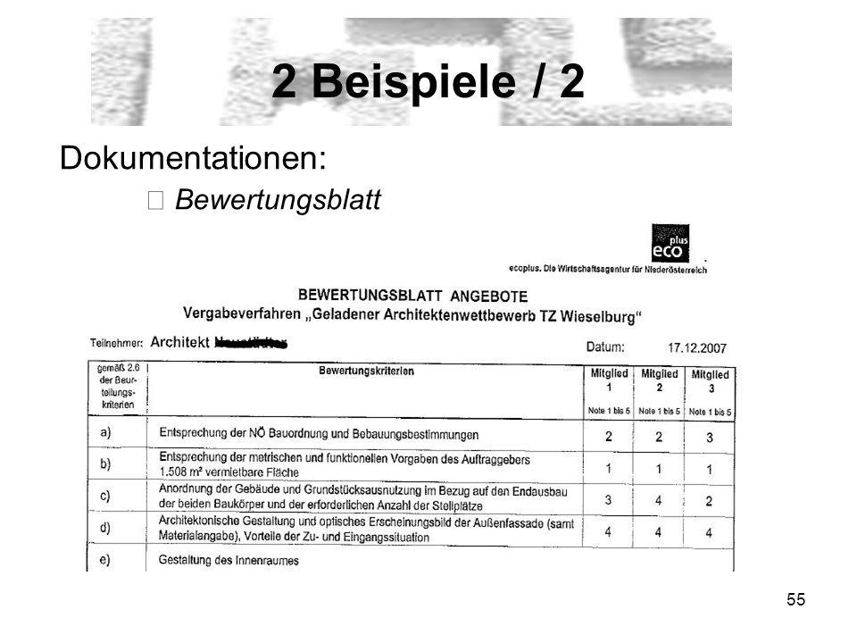 2 Beispiele / 2 Dokumentationen: ▶ Bewertungsblatt