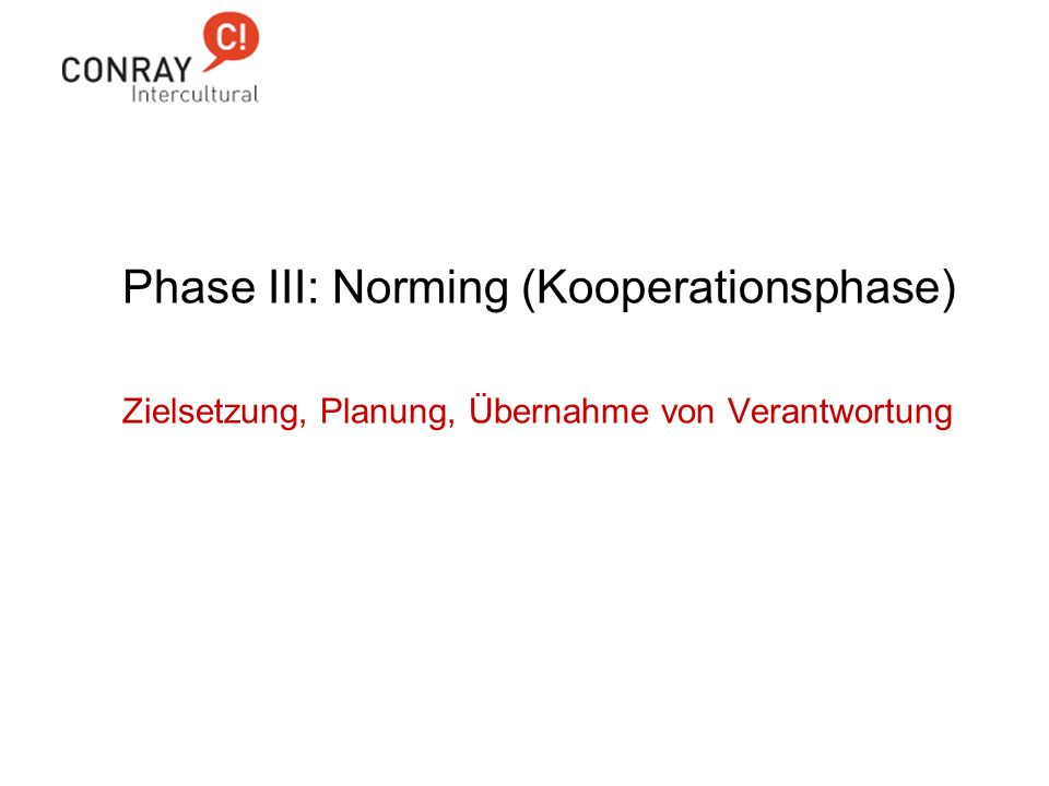 Phase III: Norming (Kooperationsphase)