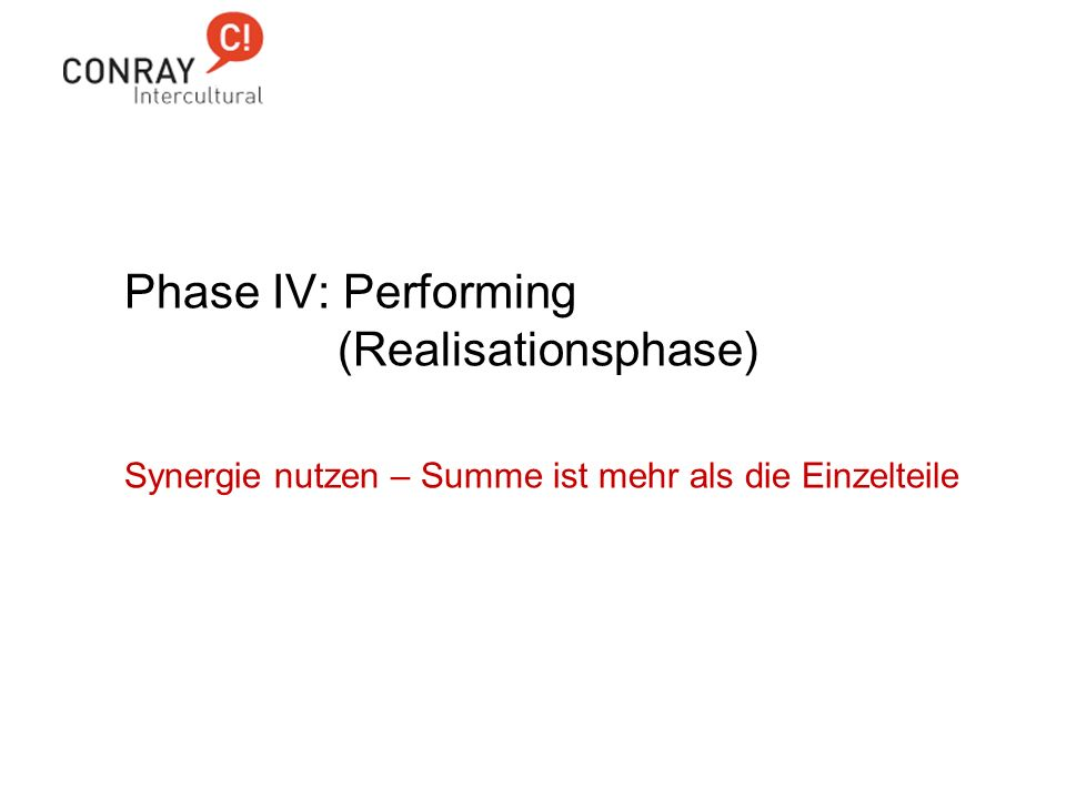 Phase IV: Performing (Realisationsphase)