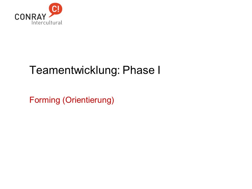 Teamentwicklung: Phase I