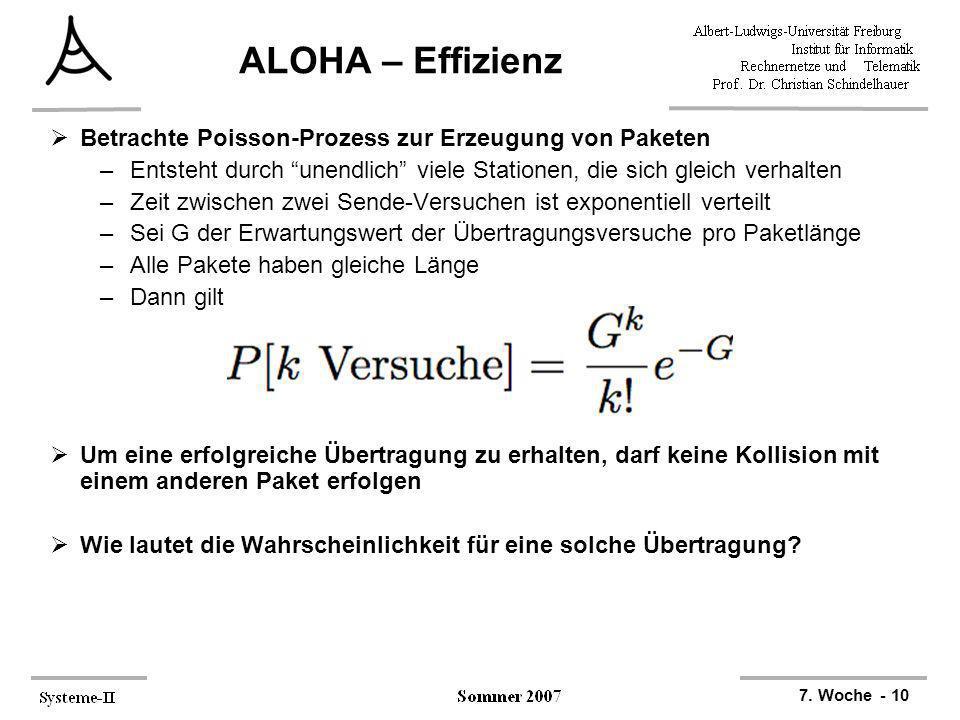 ALOHA – Effizienz Betrachte Poisson-Prozess zur Erzeugung von Paketen