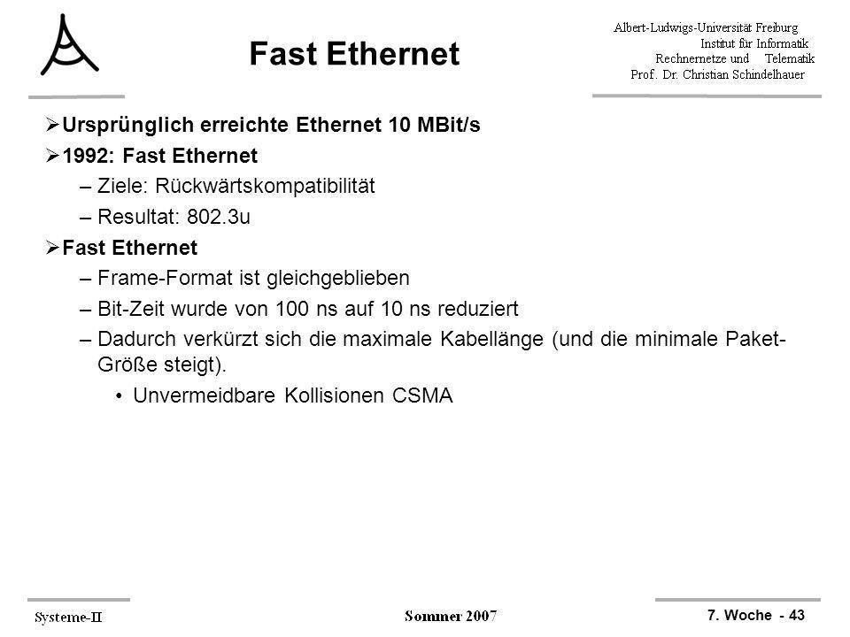 Fast Ethernet Ursprünglich erreichte Ethernet 10 MBit/s