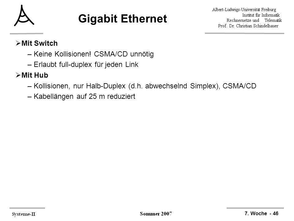 Gigabit Ethernet Mit Switch Keine Kollisionen! CSMA/CD unnötig