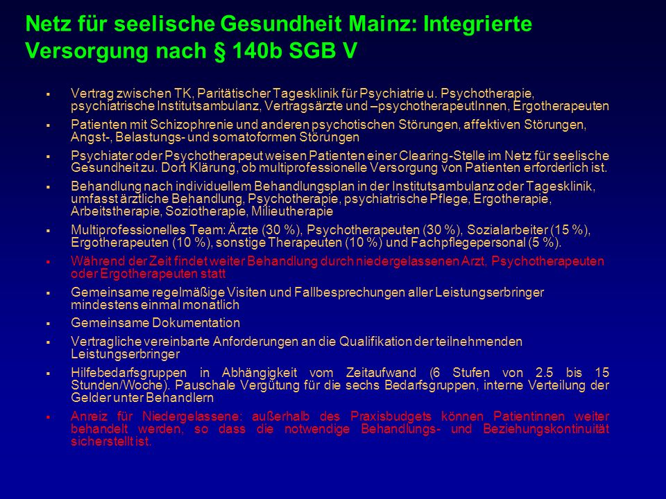 Netz für seelische Gesundheit Mainz: Integrierte Versorgung nach § 140b SGB V