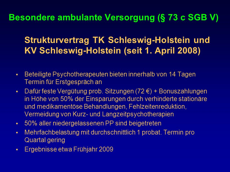 Besondere ambulante Versorgung (§ 73 c SGB V)