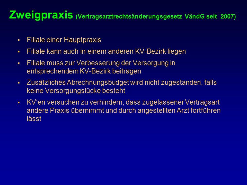 Zweigpraxis (Vertragsarztrechtsänderungsgesetz VändG seit 2007)