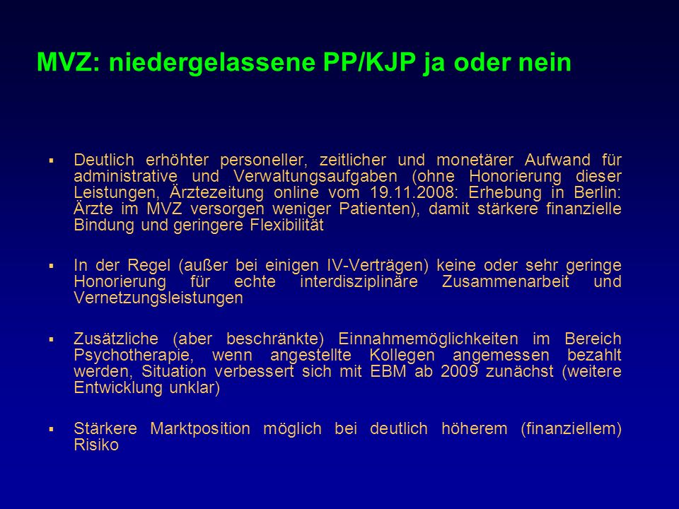MVZ: niedergelassene PP/KJP ja oder nein