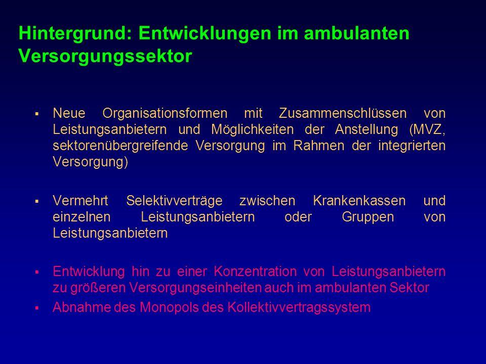 Hintergrund: Entwicklungen im ambulanten Versorgungssektor