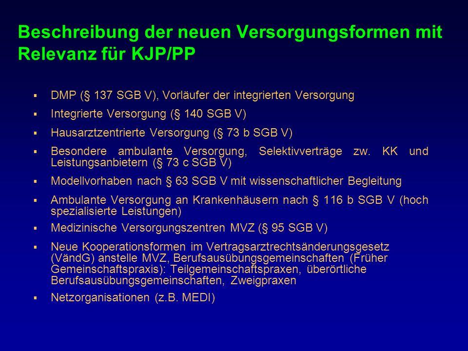 Beschreibung der neuen Versorgungsformen mit Relevanz für KJP/PP